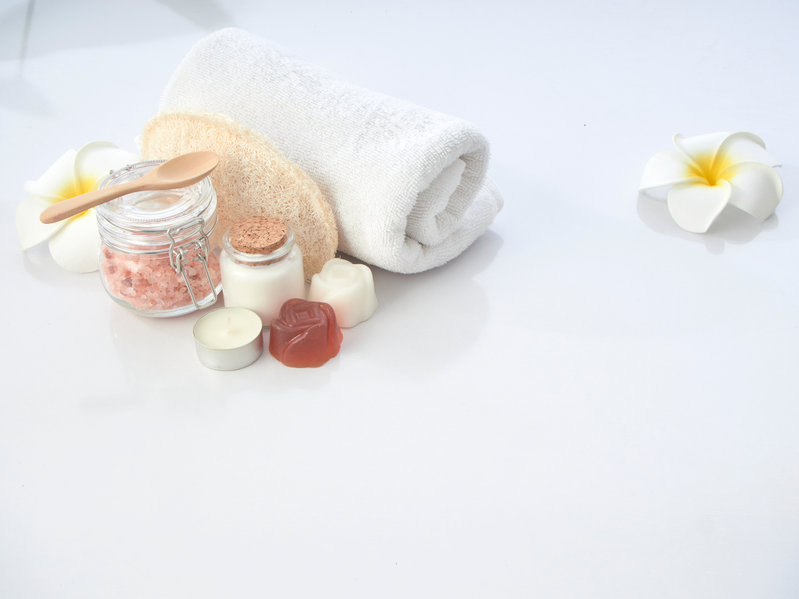 Set of spa accessories skin care on a white table